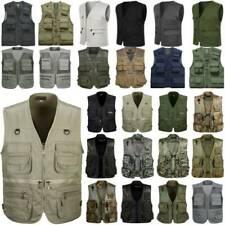 Men Utility Multi Pockets Vest Waistcoat Outdoor Fishing Hunting Jacket Outwear