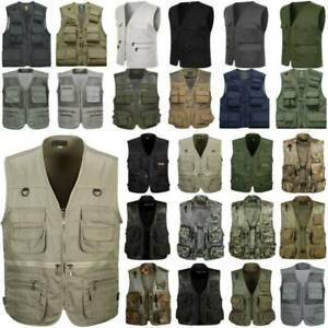 Men Utility Multi-Pocket Vest Waistcoat Outdoor Fishing Hunting Jacket Outerwear