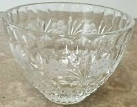 "Elegant Heavy 8"" Wide Cut Glass Crystal Flower Fruit Bowl - 4 LBS Etched"