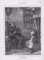 1876 - Antique Print FINE ART Little Pepita Carl Mucke Man Accordion Girl  (014)