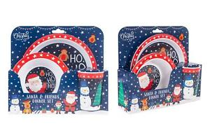 Christmas Toddler Dinner Set Plate Bowl And Cup Festive Santa And Friends Print