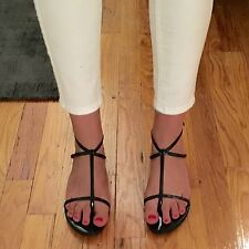 JIMMY CHOO BLACK PATENT LEATHER SANDALS, SIZE UNKNOWN/37.5?