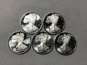 1/10 oz WALKING LIBERTY SILVER ROUNDS - .999 FINE SILVER - LOT OF 5