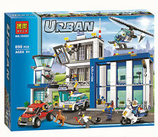 890pc City Police Station building blocks Action Model Toys helicopter jail cell