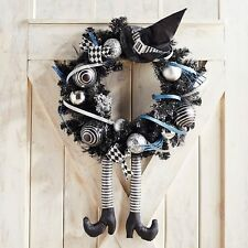 "NWT PIER 1 IMPORTS $119  LARGE WICKED WITCH BLK/SILVER  WREATH  22"" ACROSS"