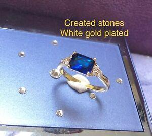 2ct emerald cut sapphire DIAM0NDS ring uk size T us 10
