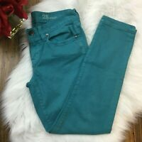 J.Crew Women's Teal Green Blue Toothpick Fit Ankle Denim Jeans Pants Size 28