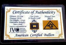 One (1) Grain Pure 24k Solid Gold Bar Ingot Bullion with COA - ACB Minted
