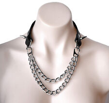 Black Deluxe Leather & Chain collar heavy duty top quality fashion Col20Blk
