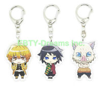 Set of 3 Demon Slayer Kimetsu Anime Acrylic Keychain Zenitsu Inosuke Giyuu v2