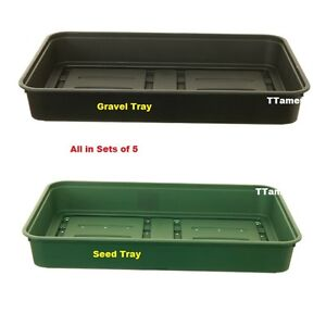 Whitefurze Set of 5 Plastic Garden Greenhouse Gravel Tray or  Seed Tray - 38cm