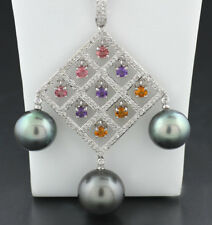 Unikat: Necklace with tahiti pearls, Diamonds and Colored Gemstones