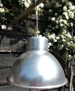 Vintage Industrial aluminium Recycled Pendant Light Shade, hanging, French