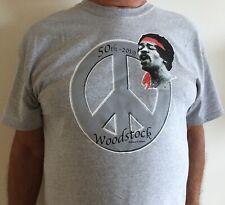 Jimi Hendrix Woodstock 50th Anniversary Grey T-shirt W/Peace Sign 100% Cotton