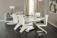 NEW MODERN SORRENTO WHITE GLOSSY LACQUER CHROME DINING TABLE SET Z SHAPE CHAIRS