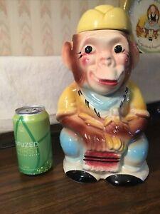 Vintage 1950s Monkey Cookie Jar RRP Co, Roseville Oh. Under Glaze Monkey Sitting