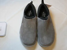 Crocs Swiftwater Leather Moc Charcoal smk 203568 standard fit M 8 mens shoes NEW