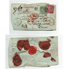 1857 GB CHARGE PAID  REGISTERED CANCEL POSTMARK GLASGOW TO PARIS COVER WAX SEAL