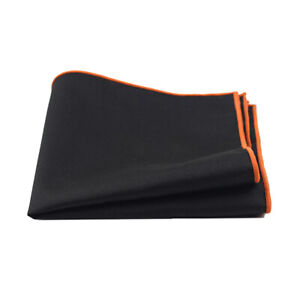 Men Linen Cotton Plain Black Pocket Square Colorful Edge Handkerchief Prom Hanky