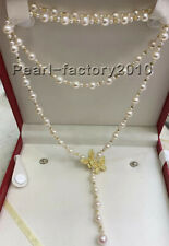 """new AAA 3-9mm natural south sea white pearl necklace 35"""""""