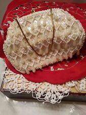 Vtg JEM Hand Made Purse Clutch Eve Bride Cream Beads Tear Drops Seq Iridescent