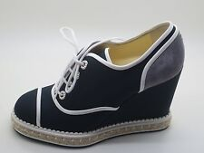 $975 Chanel 16C Navy White Grey Lace Up Wedge Espadrilles Shoes 38.5 / 7.5