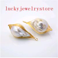 2Pcs Natural Freshwater Pearl Baroque fireball 24k gold color Pendant Bead 63