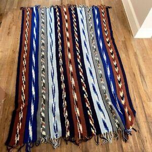 Vintage Knit Crochet Aztec Print Couch Sofa Blanket Brown Blue Fringe Boho