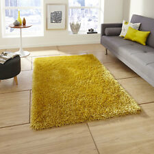 Think Rugs Monte Carlo Hand Made Shaggy Rug Yellow 60 X 115cm