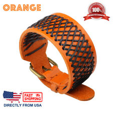 Men's Net Design Punk Rock Style Genuine Leather Wristband Bracelet