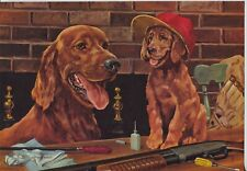Vintage Print Irish Setter with Pup Hunting Themed by Fenelle