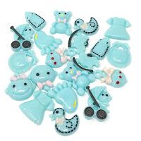 20x Baby Blue Mixed Size & Shape Cute Baby Boy Craft Cardmaking Flatbacks