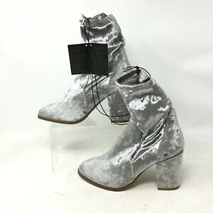NWT Forever 21 Velvet Ankle Sock Boots Womens 7 Silver Block Heels Pull On Shoes