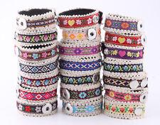 10pcs mix folk-custom cloth bracelet fit chunk snap button charm j4560-j4583