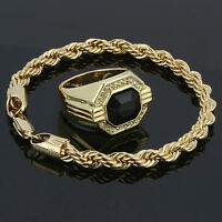 14k Gold Plated Rope Bracelet, Black Ruby Face Ring Cz Round Hip Hop Style Pinky