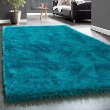 Élégant Tapis Shaggy Poils Hauts Uni Moelleux Brillant En Turquoise