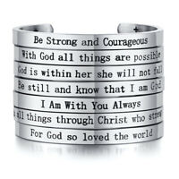 Silver Encourage Men Bracelet Cuff Customized Bible Verse Prayer Stainless Steel