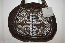 NEW! NWT! ISABELLA FIORE Chocolate DECO VALENTINA Beaded Satchel Bag $495