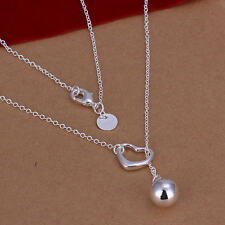 HOT charms cute Silver 925 jewelry fashion women wedding heart necklace N164