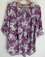SUSSAN Stunning Purple Floral Printed Tie Tassel Top Blouse Size 12 14