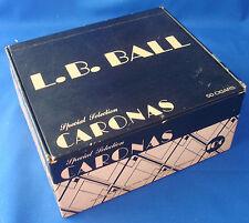 "hinged cigar box Special Selection Caronas L.B. BALL 10¢ vintage 7""x6""x3"""