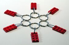 6 Lot Key Rings with LEGO 3020 2x4 red brick Plate Gift, Party Favor, Game Prize