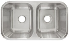 "31 1/2"" Undermount  Stainless Steel Double Kitchen Sink, 9"" Deep, LessCare L205"