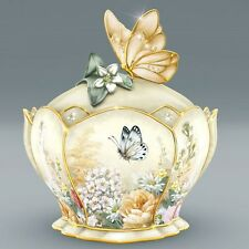 LENA LIU Golden Grace Porcelain Jeweled MUSIC BOX with Butterfly Handle NEW