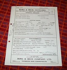 BORG & BECK CLUTCHES AUTOMOTIVE APPLICATION SHEET MORRIS BMC C TYPE ENGINE. 1954