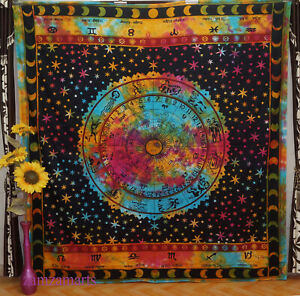 New Queen Zodiac Tie Dye Wall Hanging Tapestry Bedspread Indian Home Decorative