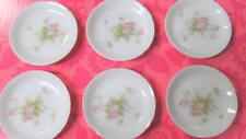 "(6) Antique Porcelain Vienna Austria 3"" Drink Coasters Pink Rose Florals"