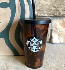 Starbucks Tortoise Shell Tumbler Black Brown Cold Cup Straw Rare 16oz 2019 New