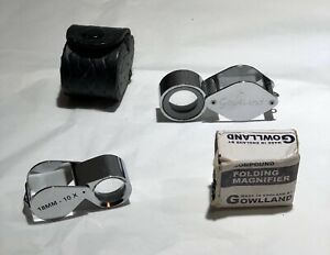 2 x Gowlland Folding Pocket Magnifier Loupe X10 X6 Boxed Case Magnifying Glass