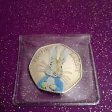 CIRCULATED COLOURED 2016 PETER RABBIT 50P COIN